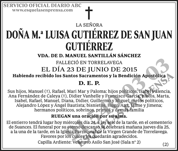 M.ª Luisa Gutiérrez de San Juan Gutiérrez